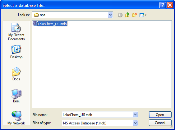 Figure 6: File open dialog with LakeChem_US.mdb selected.