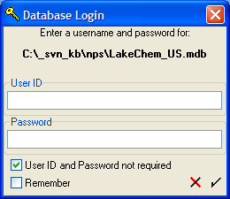 Figure 7: The credentials dialog for logging into a secured database.