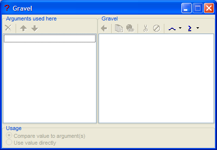 Figure 10: The argument list editor for the data link Gravel. Clicking the <nwbtn>simple argument button|common_100</nwbtn> button creates a simple argument.