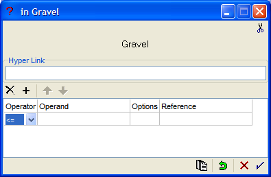 Figure 12: Entering the operator in the argument definition editor for the data link Gravel.