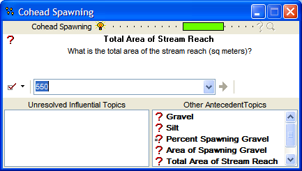 Figure 38: The temporary goal group Cohead Spawning. The TRUEness value for Cohead Spawning is 58.3% true.