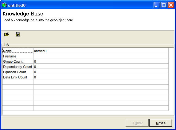 Figure 1: The new, empty geoproject setup window.