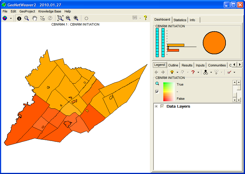 Figure 17: GeoNetWeaver with the default map of the CBNRM geoproject (CBNRM INITIATION) showing.
