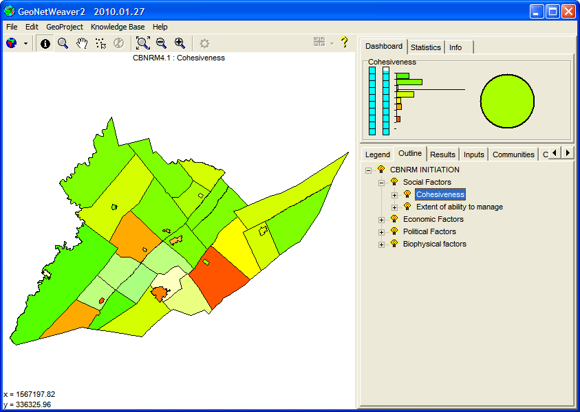 Figure 18: The CBNRM geoproject with the Outline tab selected and the topic Cohesiveness chosen from the outline.