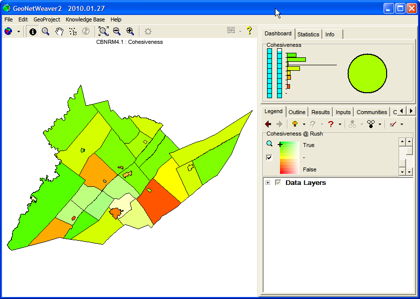 Figure 19: The CBNRM geoproject on the legend tab and after having clicked on the community Rush, the western-most community on the map.  Note the cross-hairs on the legend depicting both the value (up/down) and data satisfaction (left-more/right-less) for Cohesiveness for Rush.