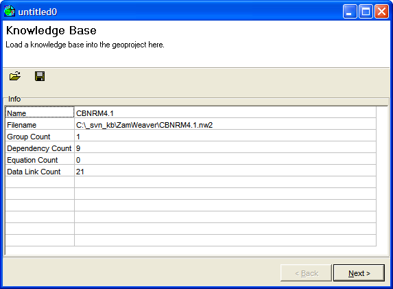 Figure 2: The geoproject setup window after loading the CBNRM knowledge base.