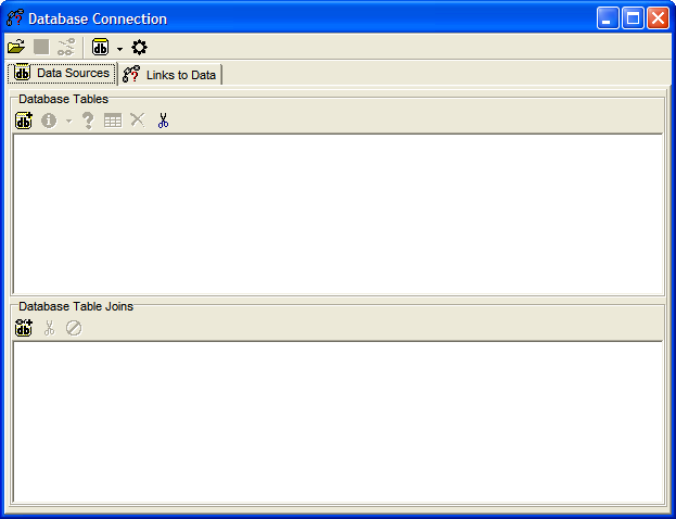 Figure 4: The database configuration window before adding data sources.